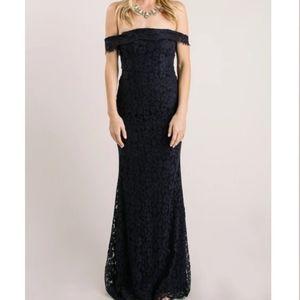 NWOT Navy Lace Off the Shoulder Maxi Dress